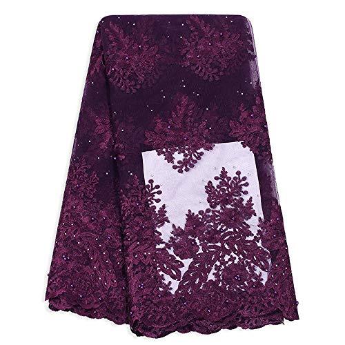 Tela africana del cordón Nigeria señoras de vestido de novia de tul Cordones Perlas de diseñador francés tela africana del cordón Estilo Para vestido de novia ( Color : DARK PURPLE , Size : 5 Yards )