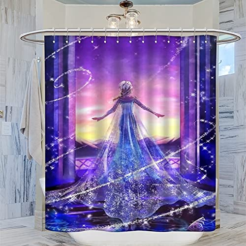 DRAGON VINES Die Eiskönigin Disney Animated Movie Gardinen Sketch Snow Queen Elsa Moderner Badezimmer-Duschvorhang für moderne Badezimmeraccessoires 183 x 183 cm