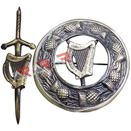 AAR Lyre Harp Kilt Pin & Brooch Badge Set Fly Plaid Antique Finish