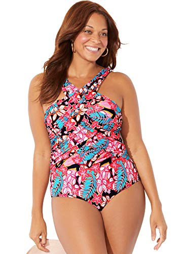 Swimsuits For All Women's Plus Size High Neck Wrap One Piece Swimsuit 16 Tropical