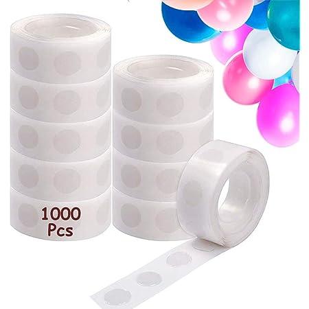 1000 Pcs Points de Colle Ballon, Colle Ballon Double Face Dots Ruban Colle, Amovible Autocollant Point Adhésif pour Mariage Fête Anniversaire Décoration de Ballon (10 Rouleaux)