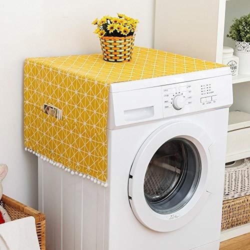 TOPINCN Housse anti-poussière multifonction pour réfrigérateur et machine à laver - En coton et lin - Avec poches de rangement latérales - Rayures jaunes et blanches (70 x 170 cm)