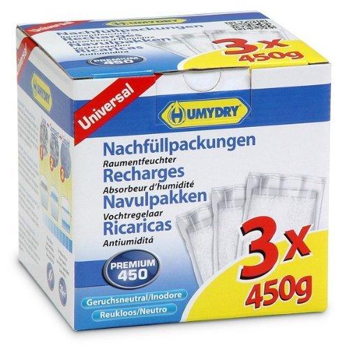 HUMYDRY Nachfüllpackungen 3x450g für Luftentfeuchter ohne Strom