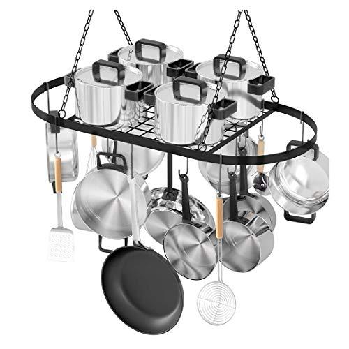 Black Metal Pot and Pan Rack for Ceiling Heavy-Loading Cookware Rack Hanging Hanger Mounted Storage Rack Organizer for Home Restaurant Kitchen UtensilsHouseholdCanteen Decoration Gifts