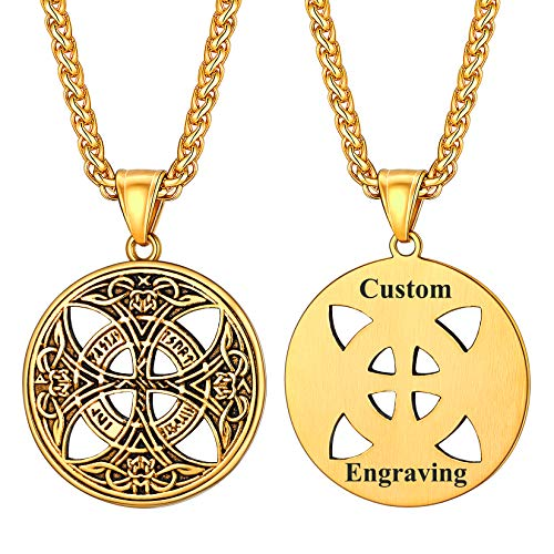 U7 Custom Celtic Knot Necklace 18K Gold Plated Lucky Amulet Ancient Viking Jewlery for Men Pendant