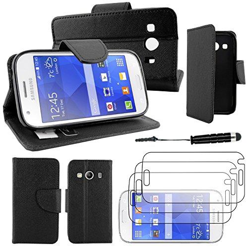 ebestStar - Coque Compatible avec Samsung Ace 4 Galaxy SM-G357FZ Etui PU Cuir Housse Portefeuille Porte-Cartes Support + Mini Stylet + 3 Films d'écran, Noir [Appareil: 121.4 x 62.9 x 10.8mm, 4.0'']