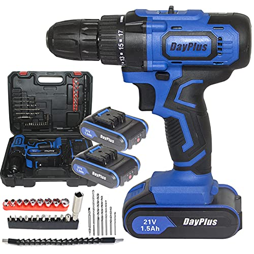 Cordless Drill with 2 Batteries, 21V 1.5Ah Lithium-Ion Combi Drill, Electric Screwdriver, 29pc Accessory Kit, LED Work Light, Built-in Tail Hammer & Magnet Function, 2-Speed and Forward/Reverse Switch