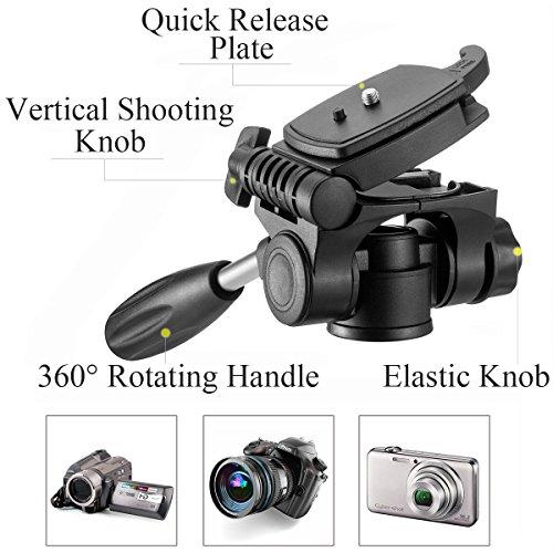 Mactrem PT55 Travel Camera Tripod Lightweight Aluminum for DSLR SLR Canon Nikon Sony Olympus DV with Carry Bag -11 lbs(5kg) Load (Black)