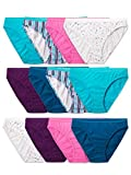 Fruit of the Loom Women's Tag Free Cotton Bikini Panties, 12 Pack - Assorted Colors, 9
