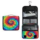 KUWT Hanging Toiletry Bag Abstract Colorful Swirl Tie Dye Cosmetic Travel Bag Portable Makeup Organizer for Cosmetics, Toiletries and Travel Accessories