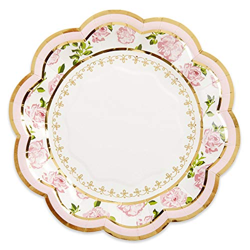 Kate Aspen Tea Time Whimsy 7 Pink (Set of 16) Paper Plate, One Size, Multi