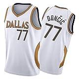 Luka Dončić Jersey para Hombres y Mujeres # 77 Dallas Mavericks 21 Temporada Nueva edición Bordado Baloncesto Camiseta Camiseta Camiseta Camiseta sin Salida al día d White-L