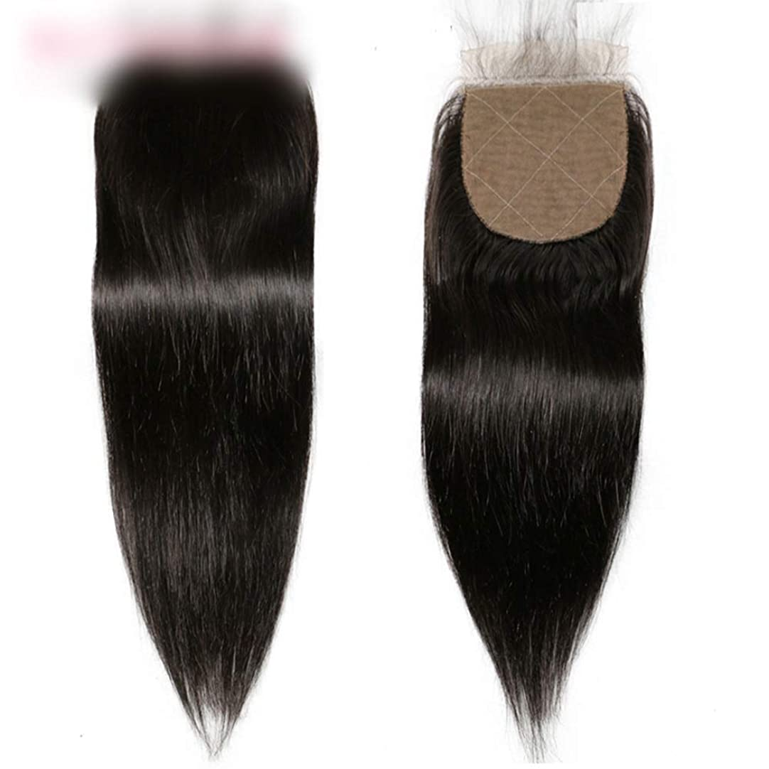 ワットグレード面積BOBIDYEE ブラジルのストレートの髪の束と閉鎖未処理の人間の髪の毛のレースの閉鎖ナチュラルカラーの髪の合成毛髪のレースのかつらロールプレイングウィッグロングとショートの女性自然 (色 : 黒, サイズ : 12 inch)