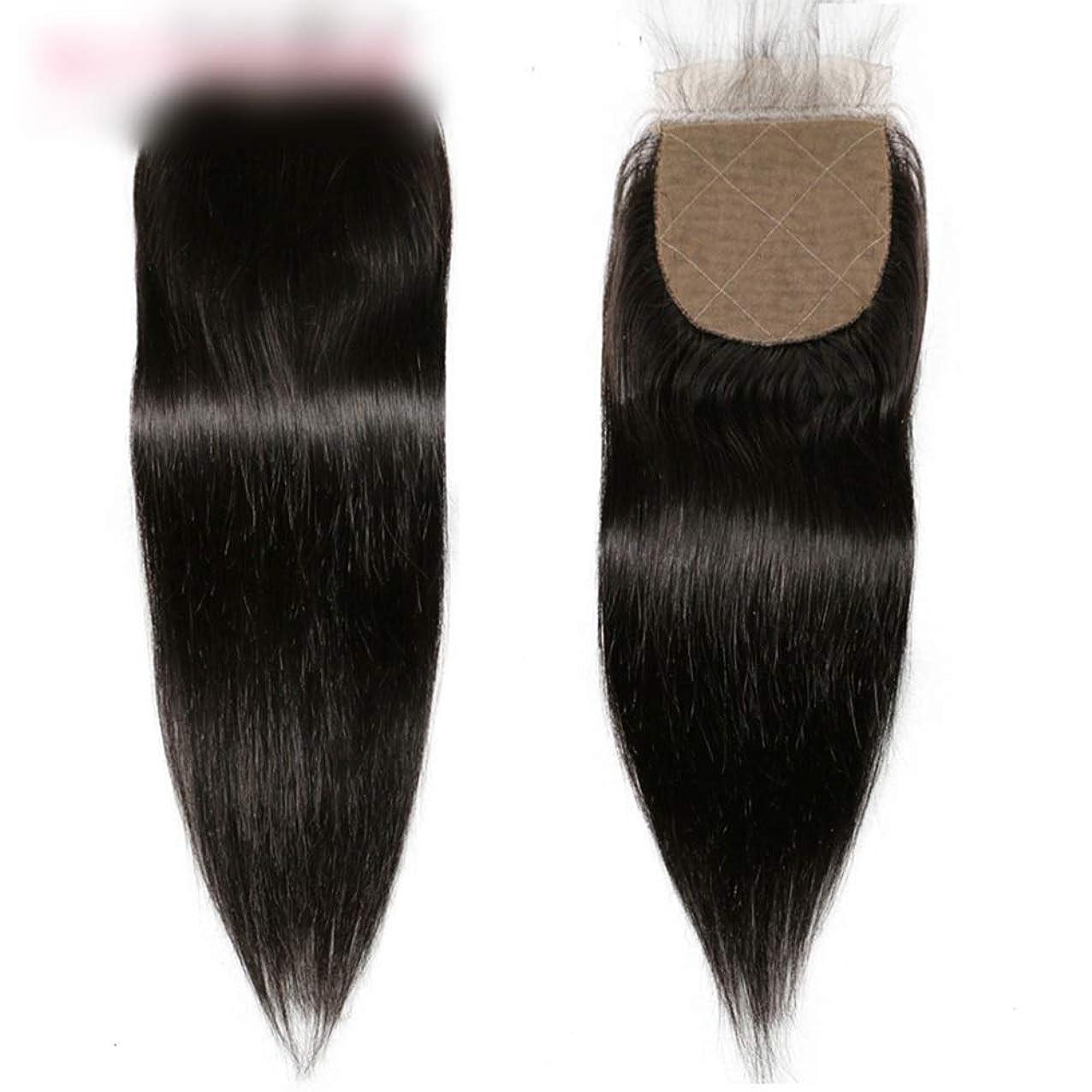 HOHYLLYA ブラジルのストレートの髪の束と閉鎖未処理の人間の髪の毛のレースの閉鎖ナチュラルカラーの髪の合成毛髪のレースのかつらロールプレイングウィッグロングとショートの女性自然 (色 : 黒, サイズ : 20 inch)
