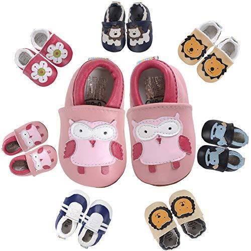 Hausschuhe Baby Krabbelschuhe Jungen Lauflernschuhe Mädchen Kleinkind Lederschuhe Babyhausschuhe Rutschfesten Baby Schuhe Lederschuhe Wildledersohlen Weicher Leder Lernlaufschuhe (Eule 12-18 Monate)