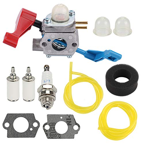 Yermax C1U-W12B C1U-W12A Carburetor for Poulan FL1500 FL1500LE Gas Leaf Blower Weedeater 530071629 with Air Filter Fuel Line Kit