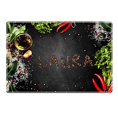 Tischset mit Namen ''Laura'' Motiv Pfeffer - Tischunterlage, Platzset, Platzdeckchen, Platzunterlage, Namenstischset
