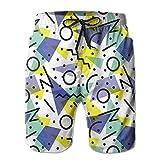 Costume da Bagno Uomo Anni '80 Immagine a Tema con Cerchi di Linee Pantaloncini da Surf ad Asciugatura Rapida Pantaloncini da Spiaggia, Taglia XL