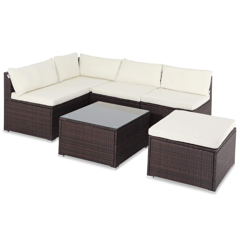 Casaria Conjunto de jardín Marrón y Crema Lounge Exterior Set de Muebles con Mesa y cojínes para su jardín terraza 210x210x70 cm: Amazon.es: Jardín