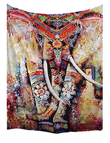 A.Monamour Tapices Multicolor Bohemio Floral Elefante Indio Hippie Mandala Psicodélico Tatuaje Marrón Moteado Impresión Tela Tapicería Pared Colgar Decoraciones para Dormitorios 153x203cm