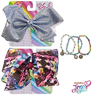 Jojo Siwa Bow for Girls Bundle, 2 Bows and 3 Pack Bracelet - Grey and Navy
