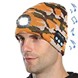Attikee Upgraded Bluetooth 5.0 Beanie Hat, Musical Knitted Cap Headphone with Built-in Stereo Speakers & Mic, Unisex Unique Christmas Tech Gag Gifts for Men, Women, Teens (Camo Yellow)