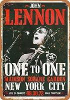 Shimaier 壁の装飾 メタルサイン 1972 John Lennon Madison Square Garden ウォールアート バー カフェ 縦20×横30cm ヴィンテージ風 メタルプレート ブリキ 看板