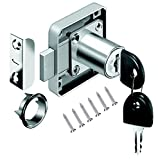 VOLGA Schrankschloss Möbelschloß Zylinder-Möbelschloss Aufschraubschloss mit Schlüssel Set für Schubladen & Schränke | Stahl vernickelt | Dornmaß: 22mm 26mm 32mm (32mm)