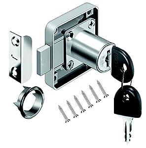Volga - Cerradura para muebles, armarios y cajones, atornillada con llave, de acero niquelado, medida de cierre: 22 mm, 26 mm, 32 mm