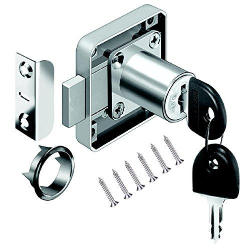 VOLGA, serratura a cilindro per mobili, serratura a vite, set di chiavi per cassetti e armadi, in acciaio nichelato, dimensioni mandrino: 22 mm, 26 mm, 32 mm (22 mm)