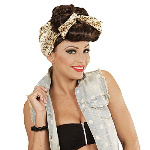 Amakando Rockabilly Perücke Damen Pin Up Girl Damenperücke braun 50er 60er Jahre Frauenperücke 50s 60s Faschingsperücke Kostüm Outfit Zubehör Fastnacht Rockabella Karnevalsperücke