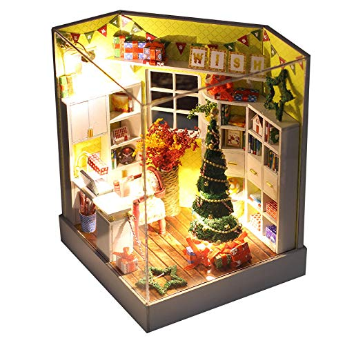Graysky Christmas Themed Dollhouse Miniature Dollhouse Kits with Furniture Accessories, Handmade Room Model Best Gift for Boys Girls and Adults, US Stock