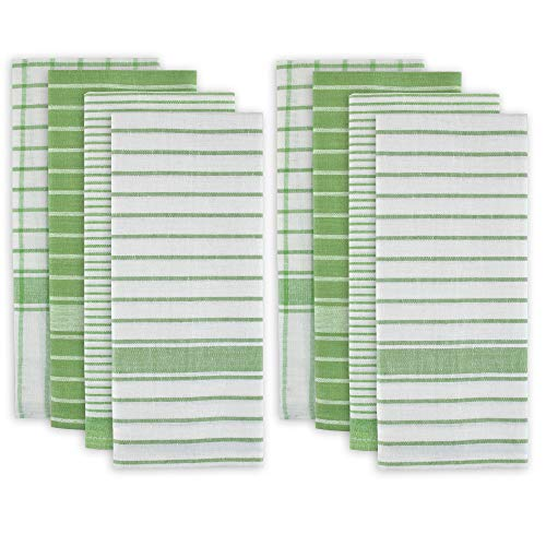 DII 100% Cotton, Ultra Absorbent, Drying & Cleaning, Everyday Kitchen Basic, Classic Stripe Dishtowel, 20 x 28', Set of 8- Green