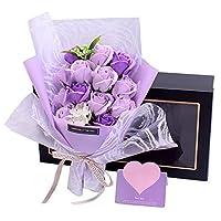 バレンタインデークリエイティブギフトシミュレーションソープローズブーケギフトボックス、520タナバタ告白彼女の誕生日記念日のガールフレンドのための誕生日プレゼントバレンタインデー母の日レディースプレゼ,紫色