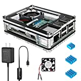 Capa para Raspberry Pi 3 B+ da Miuzei com refrigeração do ventilador, capa Pi 3B com 3 dissipadores de calor, fonte de alimentação 5V 2,5A para Raspberry Pi 3 B+ (B Plus), 3B, 2B