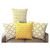 TIDWIACE Strapazierfähige Baumwolle Leinen Quadratisch dekorativer Überwurf-Kissenbezug Home Dekorative Kissenbezüge 45,7 x 45,7 cm Set von 4 - Serie (gelb)