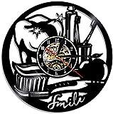 tjiaxu Disco de Vinilo Reloj de Pared Lámpara de Noche Colgante 7 Colores Diente Remoto Silueta Vintage Colgante Hecho a...