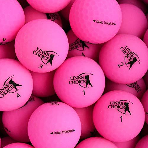 Links Choice 12 Pelotas de Golf Unisex de Titanio Doble Vibe Optic Acabado Mate, Color Rosa