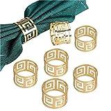 Napkin Rings,6 Pcs Metal Napkin Holder Buckles Serviette Rings for Wedding Party Dinner Table Decoration (B Gold)