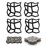 Zueyen 4 moldes para pavimento, para pavimento, para hormigón, para aceras, encofrado, moldeado, plástico, para pintar adoquines, para jardín, hormigón (43 x 43 x 4 cm)