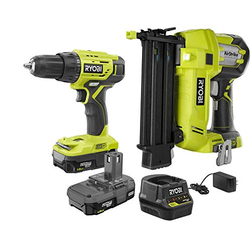 RYOBI P1887N 18-Volt ONE+ 1/2 in. Drill/Driver, 18-Gauge Cordless Brad Nailer Kit w/(2) 1.5 Ah Compact Lithium-Ion Batteries, Charger