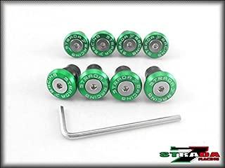 Strada 7 Racing CNC Windscreen Bolts M5 Wellnuts Set Green For Aprilia Shiver / GT