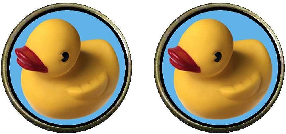 GiftJewelryShop Bronze Retro Style Yellow Rubber Duck Photo Clip On Earrings 14mm Diameter