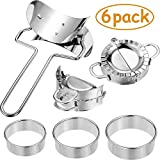 6 Pieces Stainless Steel Dumplings Maker, 2 Pieces Dumpling Molds, Dumpling Skin Roller and 3 Pieces Dumpling Skin Cutter Pie Ravioli Empanadas Press Mold Kitchen Accessories