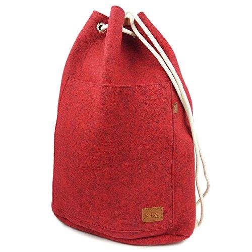 Venetto Sportrucksack Rucksack Sack Turnbeutel Beutel aus Filz für Sport, Fußball, Schule, Wandern, sehr leicht mit Schuhfach Backpack Unisex (Rot meliert)
