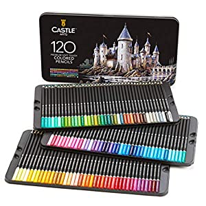 Castle Art Supplies 120 – Juego de lápices de colores, color 120 colores