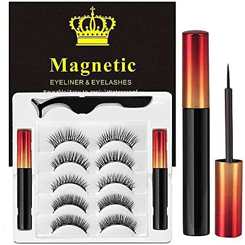 Ciglia Magnetiche Con Eyeliner Magnetico Kit, 5...