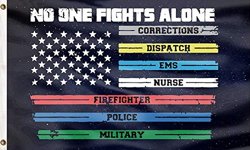 No One Fights Alone First Responders Flag Multi Line US American Flags Paramedic Correctional Officer Military Police Fire Fighters Supporter Lawn Yard Decor Indoor Outdoor Banner 3x5 Feet