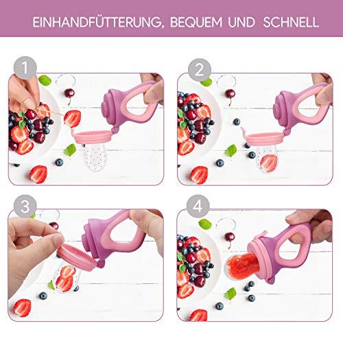 Oladwolf Fruchtsauger für Baby & Kleinkind, Silikon Schätzchen Schnuller für Obst und Gemüse Brei Beikost, BPA frei, 5PCS Professionelles Baby-Beißring Sauger in 3 Größen - 8