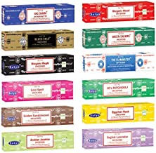 Satya Nag Champa Incense Stick Packs | 12 Assorted Fragrances | Hand Rolled &..
